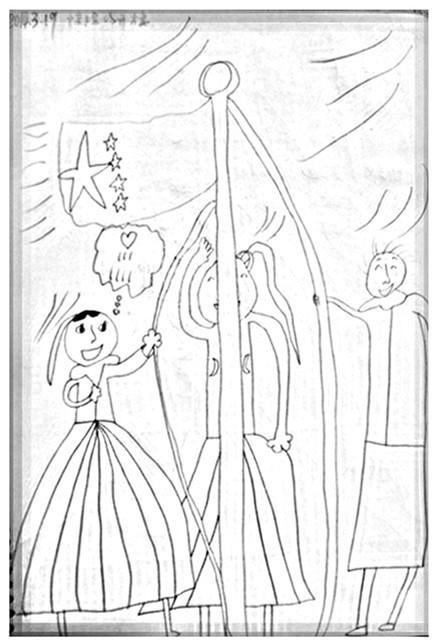 小朋友幼儿园升旗简笔画